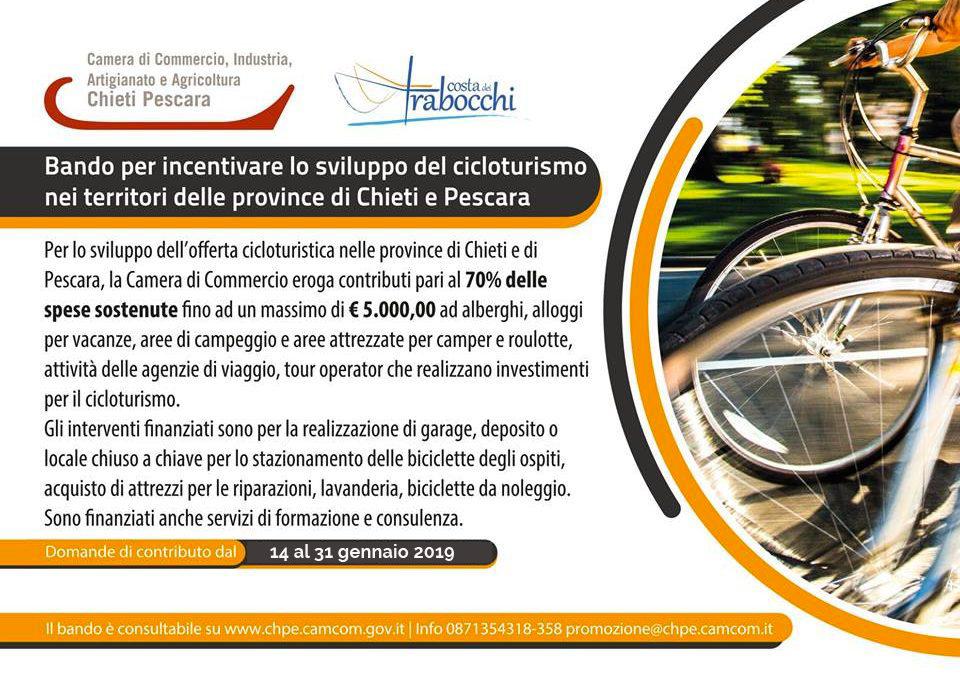 RIAPERTI I TERMINI DI PRESENTAZIONE DELLE DOMANDE: dal 14 al 31 gennaio 2019 Bando per incentivare lo sviluppo del cicloturismo nei territori delle province di Chieti e Pescara
